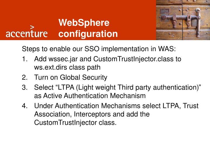 WebSphere configuration