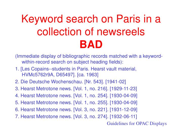 Keyword search on paris in a collection of newsreels bad
