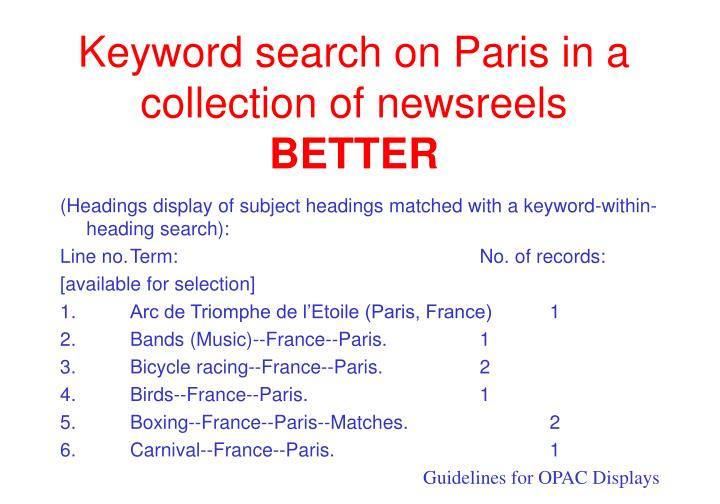 Keyword search on Paris in a collection of newsreels