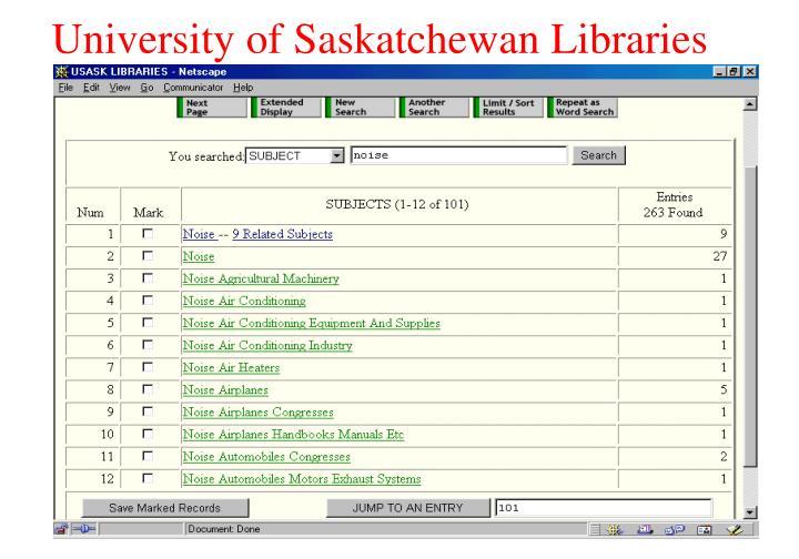 University of Saskatchewan Libraries