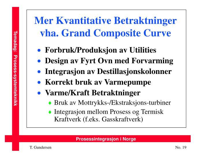 Mer Kvantitative Betraktninger vha. Grand Composite Curve