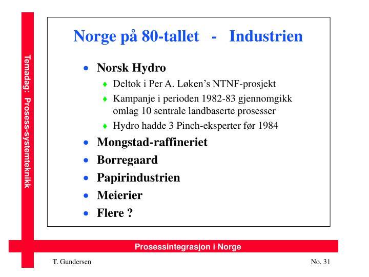 Norge på 80-tallet   -   Industrien