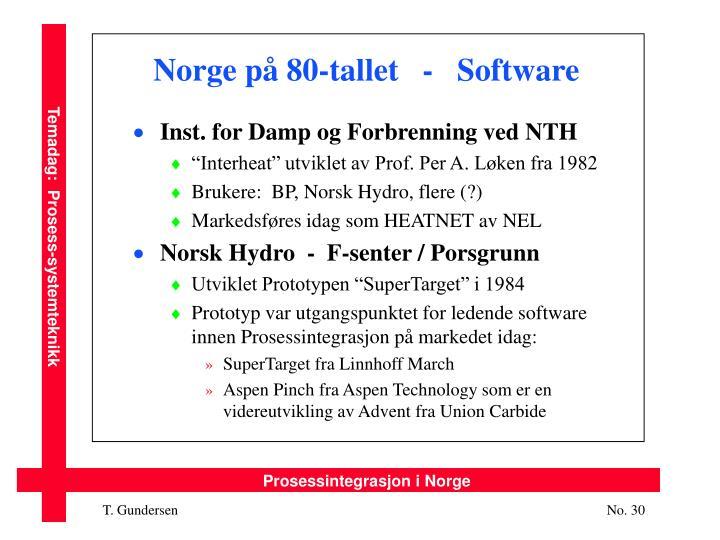 Norge på 80-tallet   -   Software