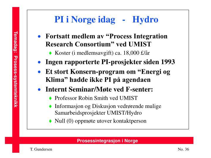 PI i Norge idag   -   Hydro