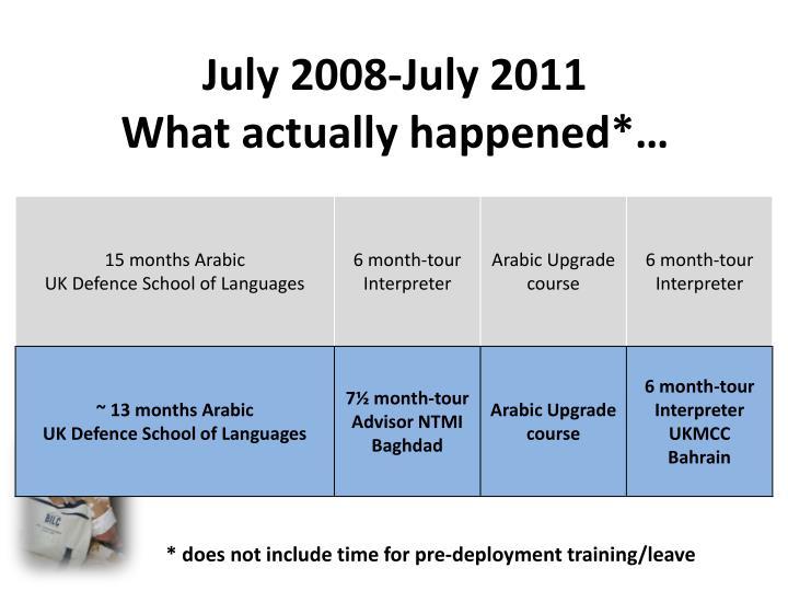 July 2008-July 2011