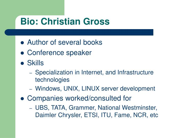 Bio: Christian Gross