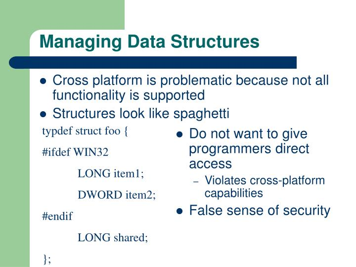 Managing Data Structures