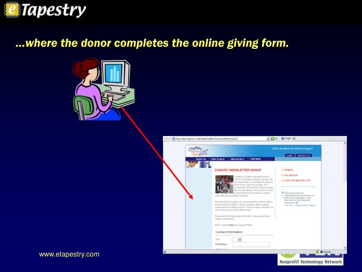 …where the donor completes the online giving form.