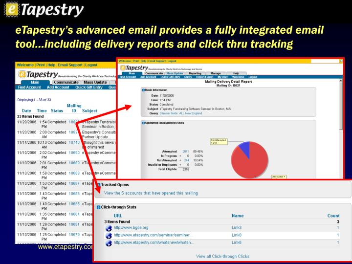 eTapestry's advanced email provides a fully integrated email tool…including delivery reports and click thru tracking