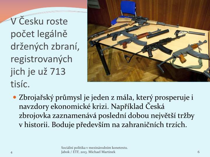V Česku roste počet legálně držených zbraní, registrovaných jich jeuž 713 tisíc.