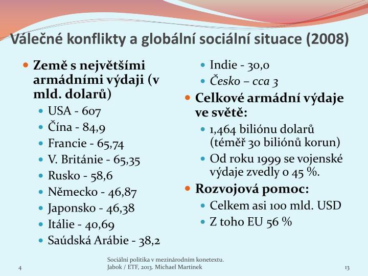 Válečné konflikty a globální sociální situace (2008)
