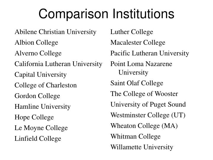 Comparison Institutions