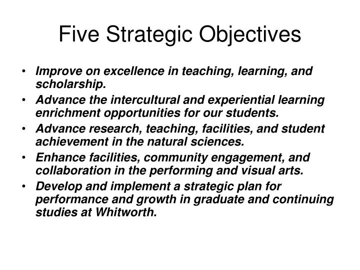 Five strategic objectives