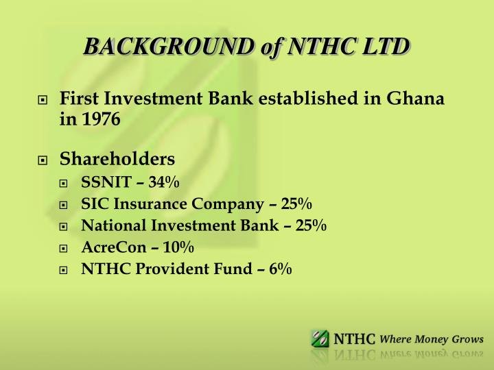 Background of nthc ltd