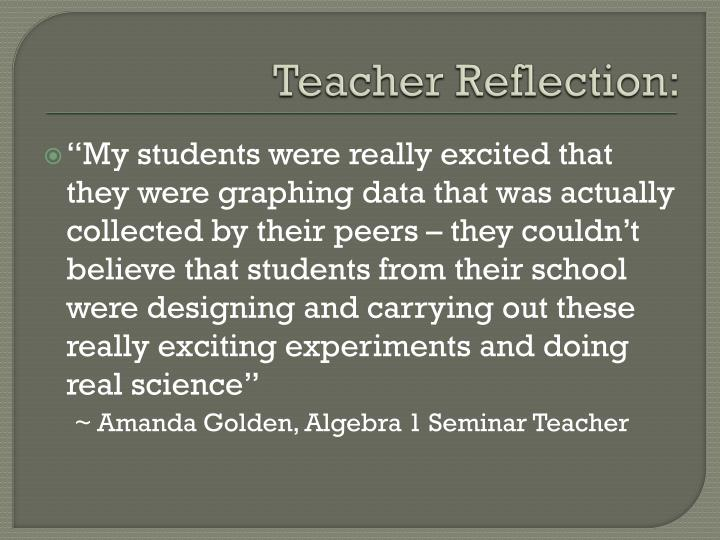 Teacher Reflection: