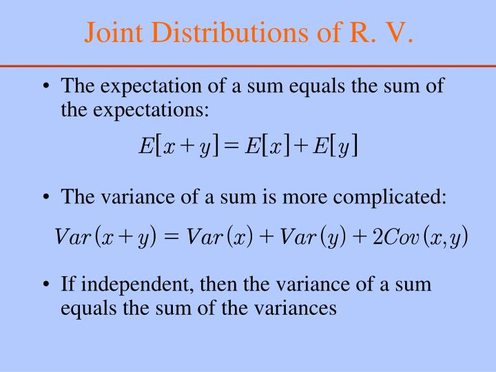 Joint distributions of r v1