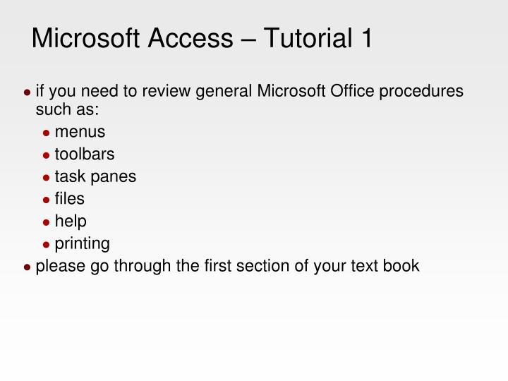 microsoft access tutorial 1