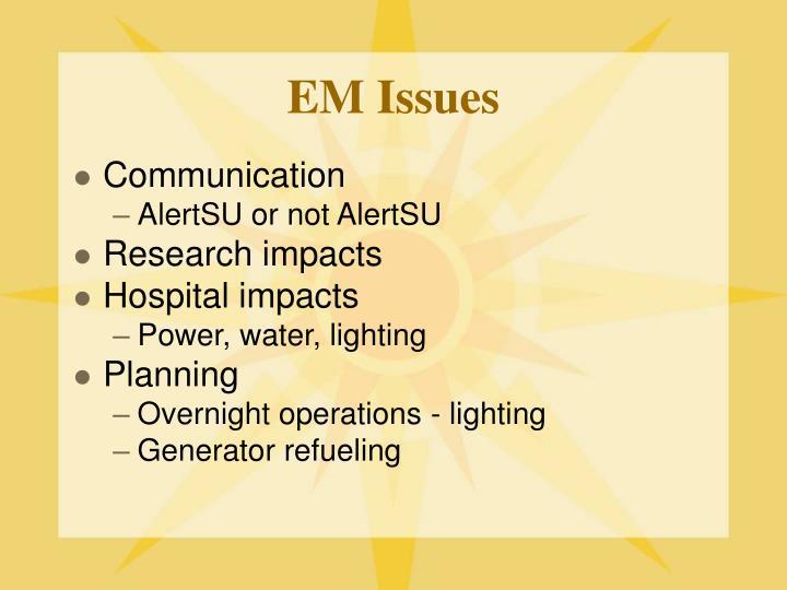 EM Issues