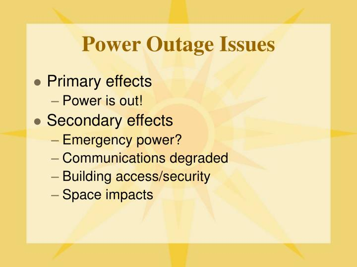 Power Outage Issues