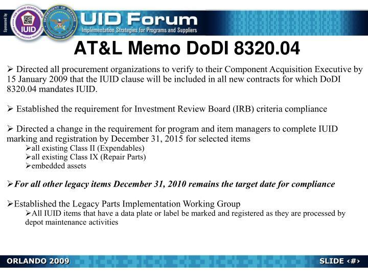 AT&L Memo DoDI 8320.04