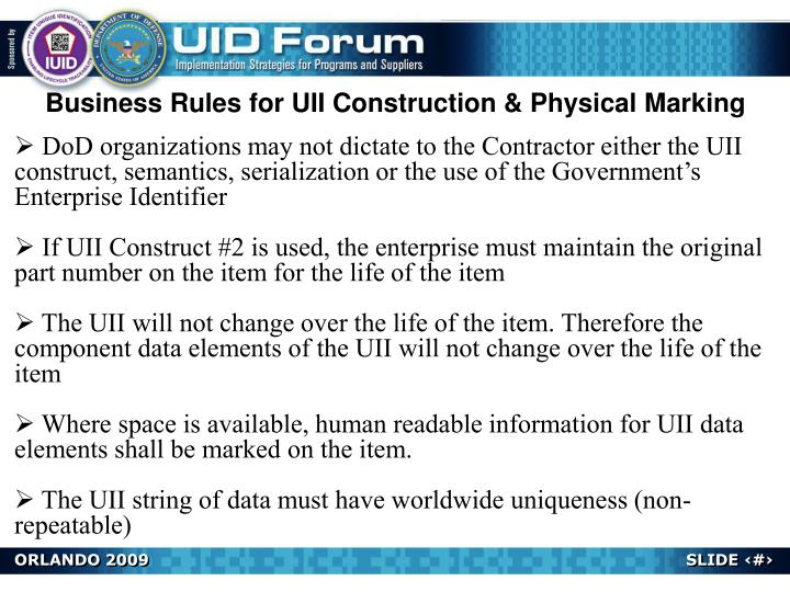 Business Rules for UII Construction & Physical Marking