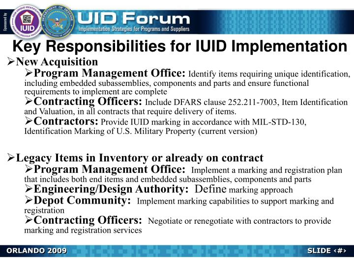 Key Responsibilities for IUID Implementation