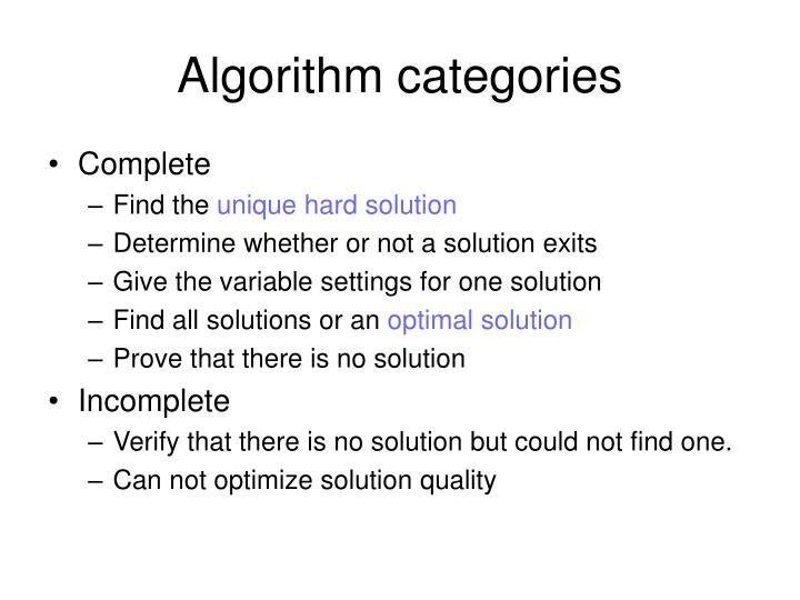 Algorithm categories