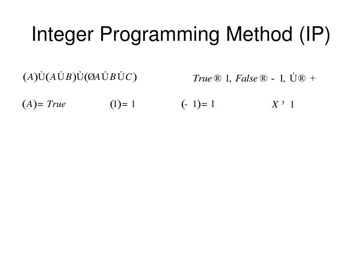 Integer Programming Method (IP)