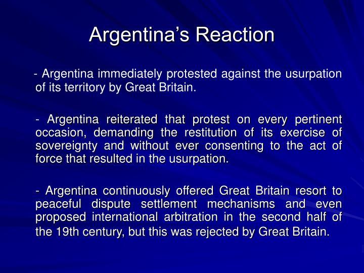 Argentina's Reaction