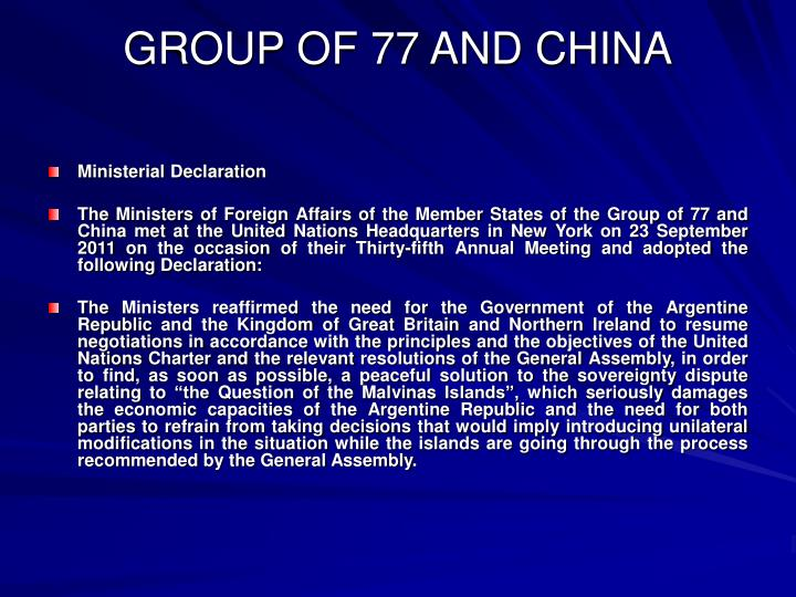GROUP OF 77 AND CHINA