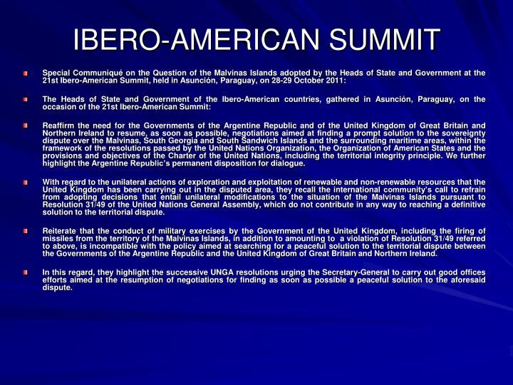 Special Communiqué on the Question of the Malvinas Islands adopted by the Heads of State and Government at the 21st Ibero-American Summit, held in Asunción, Paraguay, on 28-29 October 2011: