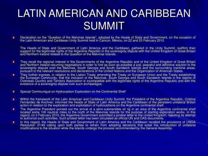 LATIN AMERICAN AND CARIBBEAN SUMMIT