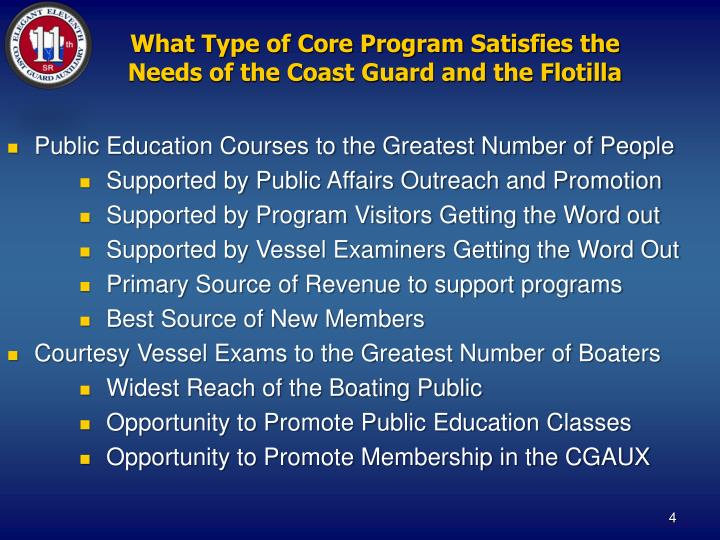What Type of Core Program Satisfies the Needs of the Coast Guard and the Flotilla