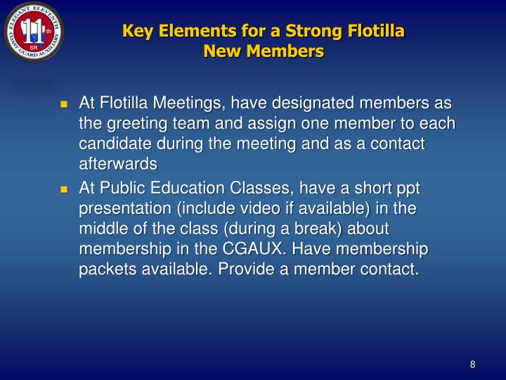 Key Elements for a Strong Flotilla