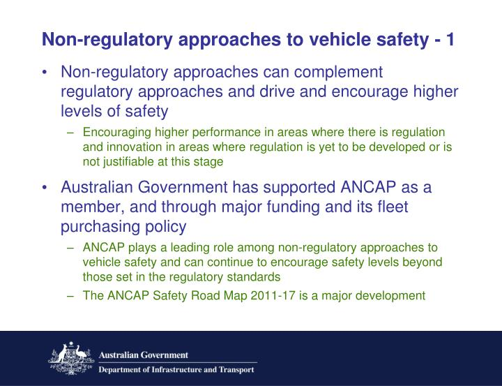 Non-regulatory approaches to vehicle safety - 1