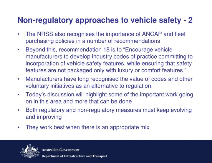 Non-regulatory approaches to vehicle safety - 2