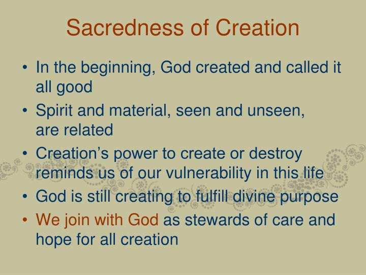 Sacredness of Creation