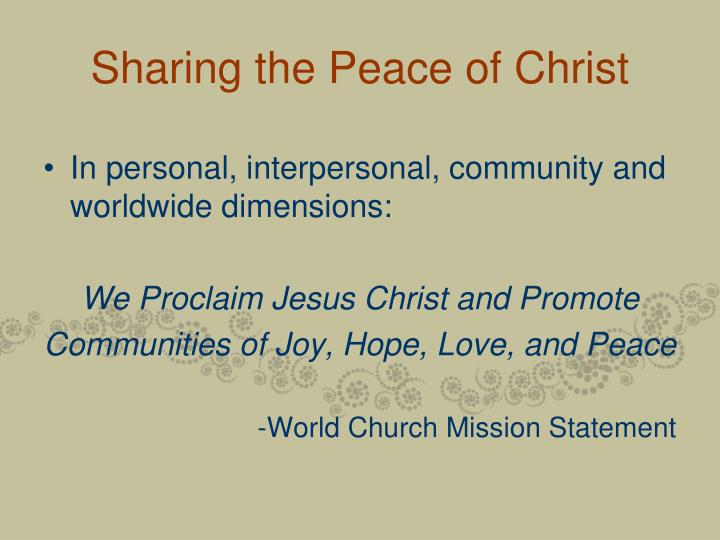 Sharing the Peace of Christ