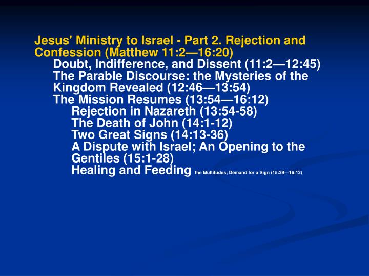 Jesus' Ministry to Israel - Part 2. Rejection and Confession (Matthew 11:2—16:20)