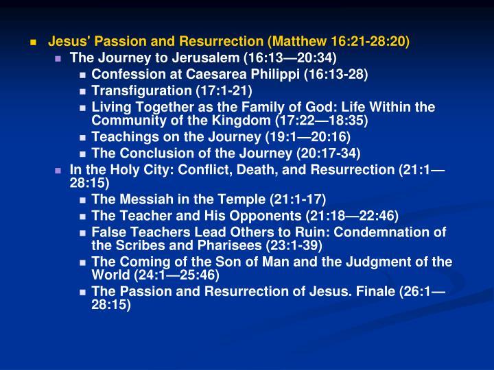 Jesus' Passion and Resurrection (Matthew 16:21-28:20)