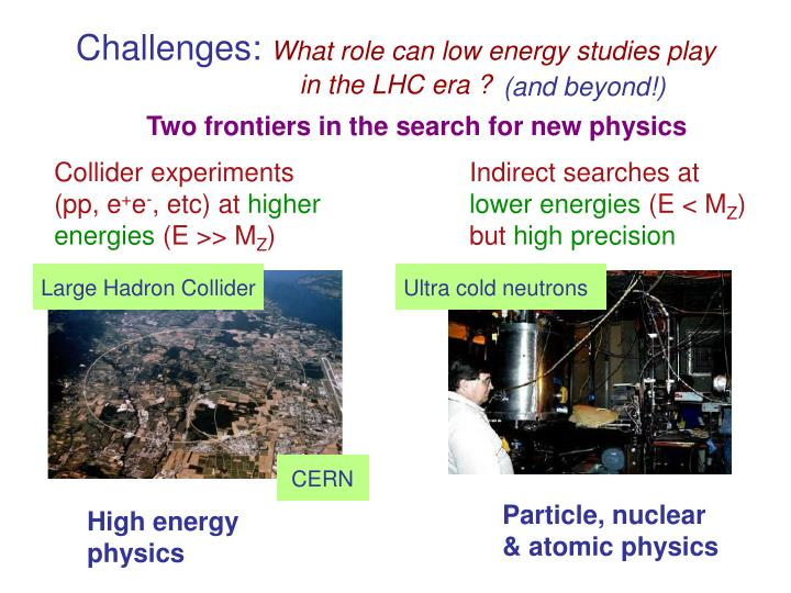 Two frontiers in the search for new physics