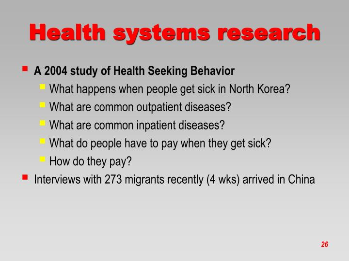 Health systems research