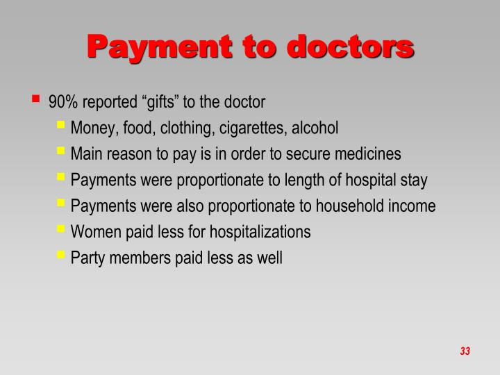 Payment to doctors