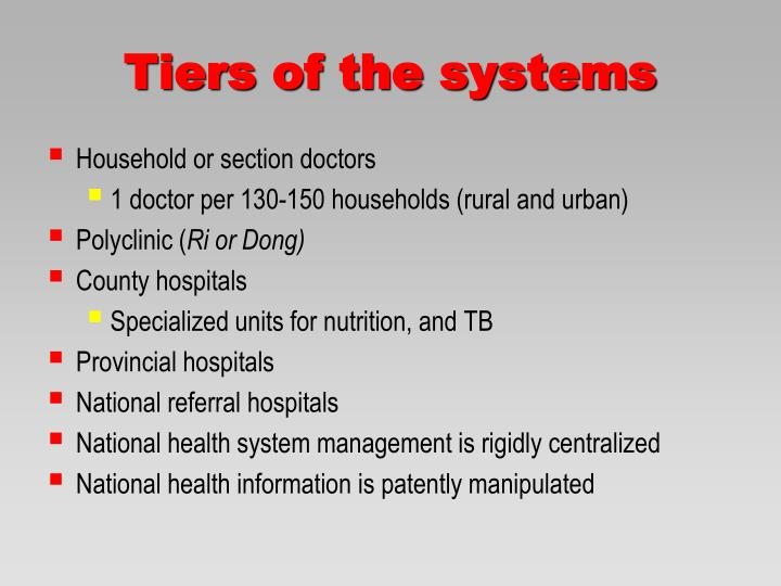 Tiers of the systems