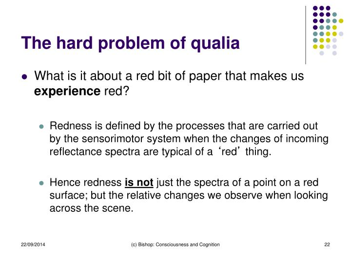 The hard problem of qualia