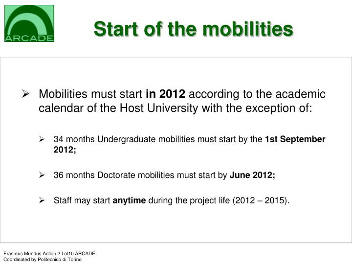 Start of the mobilities