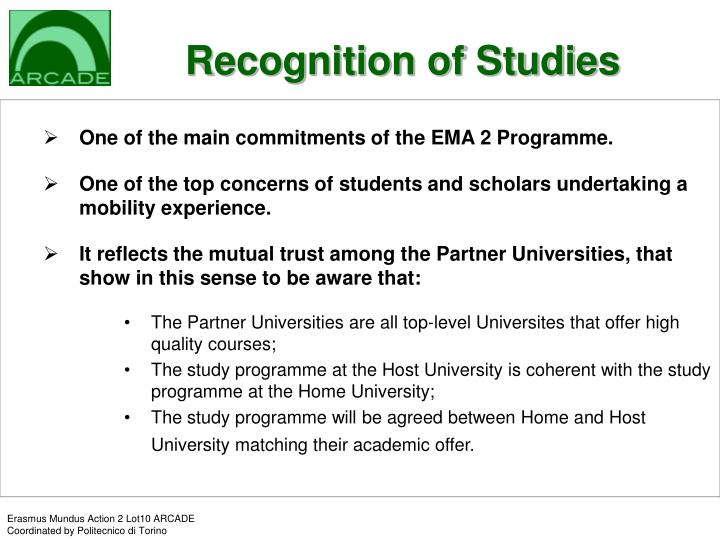 Recognition of Studies