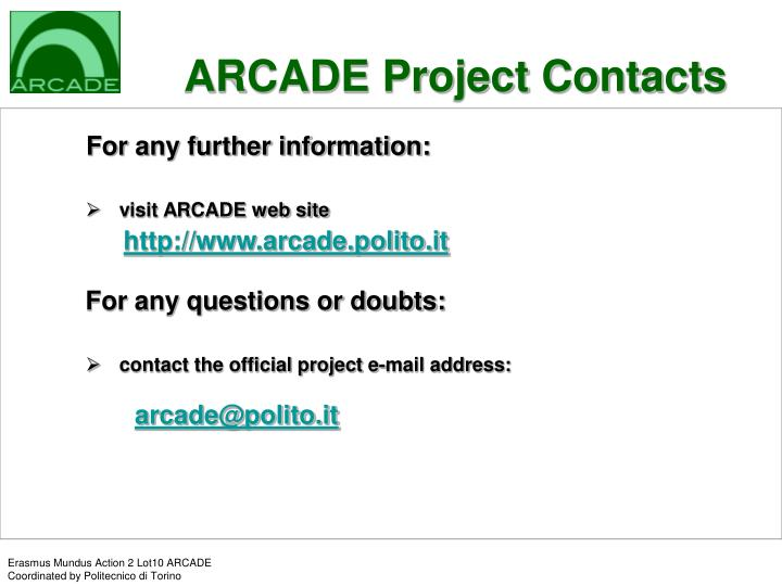 ARCADE Project Contacts