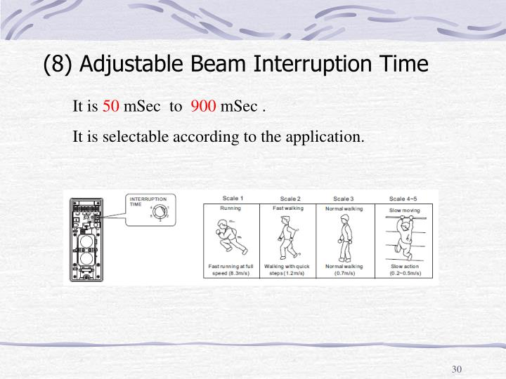 (8) Adjustable Beam Interruption Time