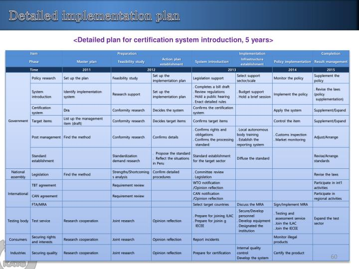 Detailed implementation plan